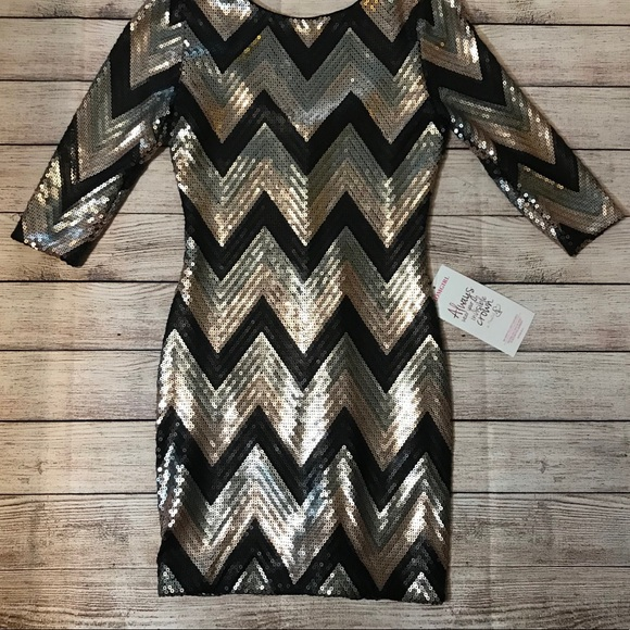 as u wish dresses rose gold silver and black sequin dress nwt